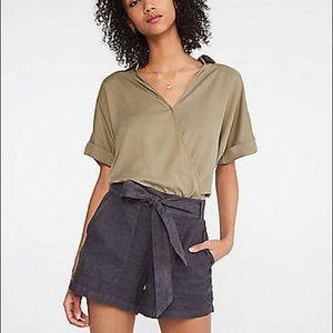 Lou & Grey Tie Waist Linen Shorts